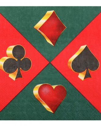 Servetter Casino Grön/Röd