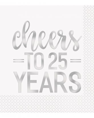 Servetter Cheers to 25 Years Silver - 16-pack