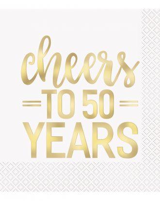 Servetter Cheers to 50 Years Guld - 16-pack