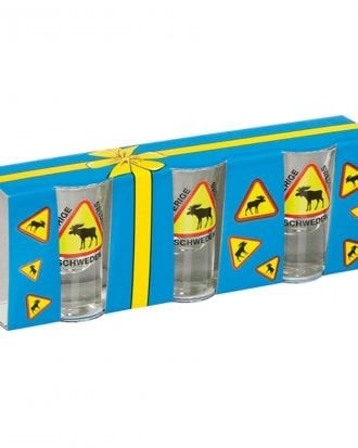 Snapsglas Älgvarning - 3-pack