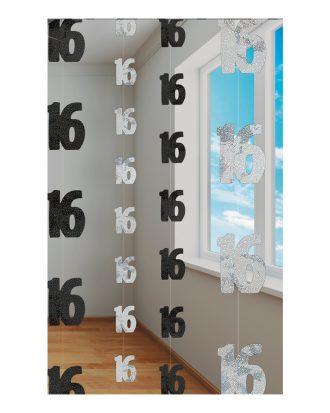 Siffra 16 Svart/Silver Hängande Dekoration - 6-pack