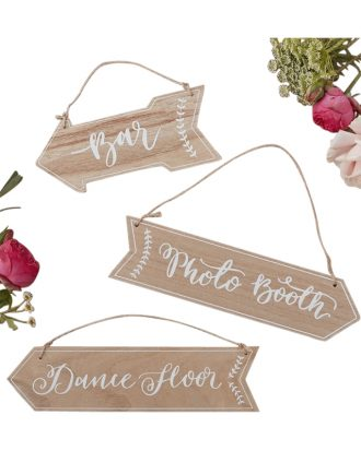 Skyltar i Trä Bröllop - 3-pack