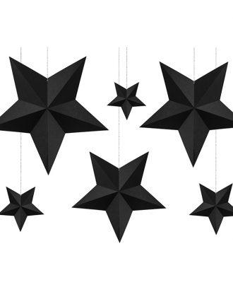 Stjärnor Svarta DIY Hängande Dekoration - 6-pack