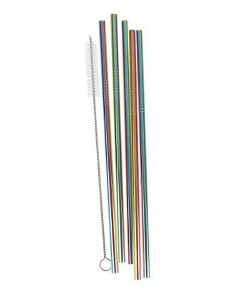 Sugrör i Rostfritt Stål Regnbågsfärgade - 5-pack