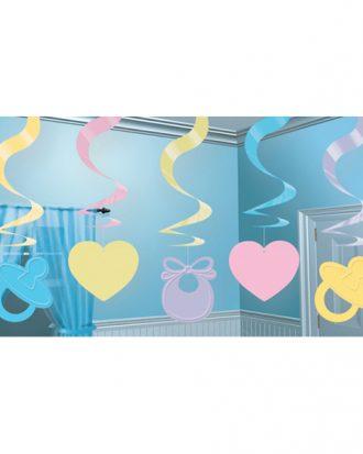 Swirls Baby Shower Hängande Dekoration - 5-pack