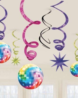 Swirls Disco Hängande Dekoration - 12-pack