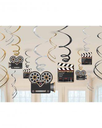 Swirls Hollywood Hängande Dekoration - 12-pack