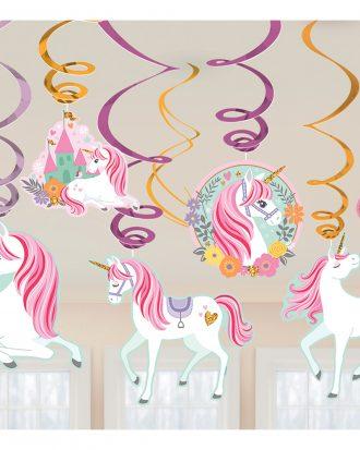 Swirls Unicorn Party Hängande Dekoration - 12-pack