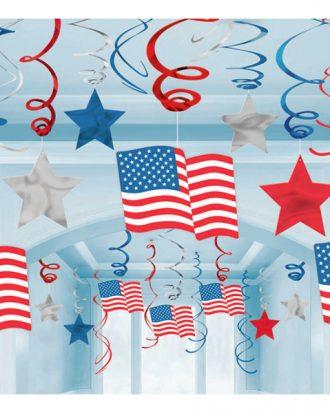 Swirls USA Hängande Dekoration - 30-pack